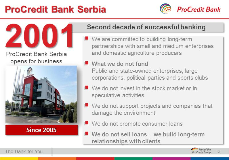 | ProCredit Bank Serbia The Bank for You Second decade of successful banking 2001 ProCredit Bank Serbia opens for business We are committed to building long-term partnerships with small and medium enterprises and domestic agriculture producers What we do not fund Public and state-owned enterprises, large corporations, political parties and sports clubs We do not invest in the stock market or in speculative activities We do not support projects and companies that damage the environment We do not promote consumer loans We do not sell loans – we build long-term relationships with clients We are committed to building long-term partnerships with small and medium enterprises and domestic agriculture producers What we do not fund Public and state-owned enterprises, large corporations, political parties and sports clubs We do not invest in the stock market or in speculative activities We do not support projects and companies that damage the environment We do not promote consumer loans We do not sell loans – we build long-term relationships with clients Since