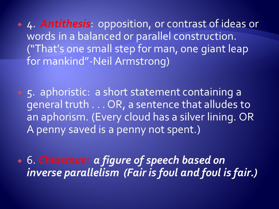 balanced antithesis Antithesis definition, opposition the placing of a sentence or one of its parts against another to which it is opposed to form a balanced contrast of.