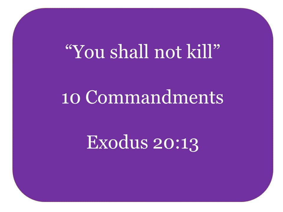 You shall not kill 10 Commandments Exodus 20:13