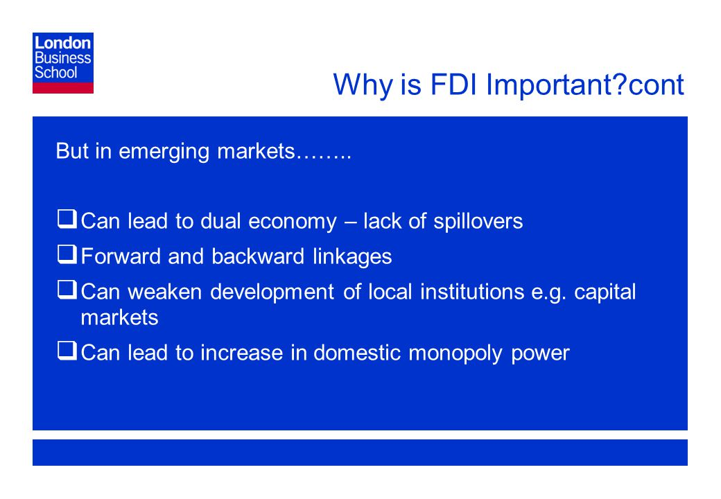 Page 6 Why is FDI Important cont But in emerging markets……..