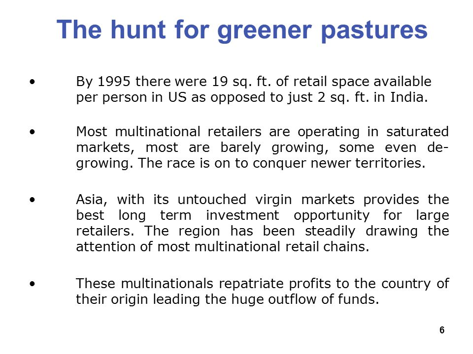 6 The hunt for greener pastures By 1995 there were 19 sq.