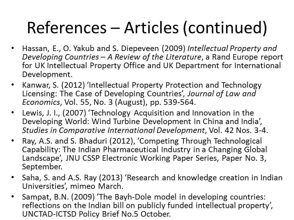 References – Articles (continued) Hassan, E., O. Yakub and S.