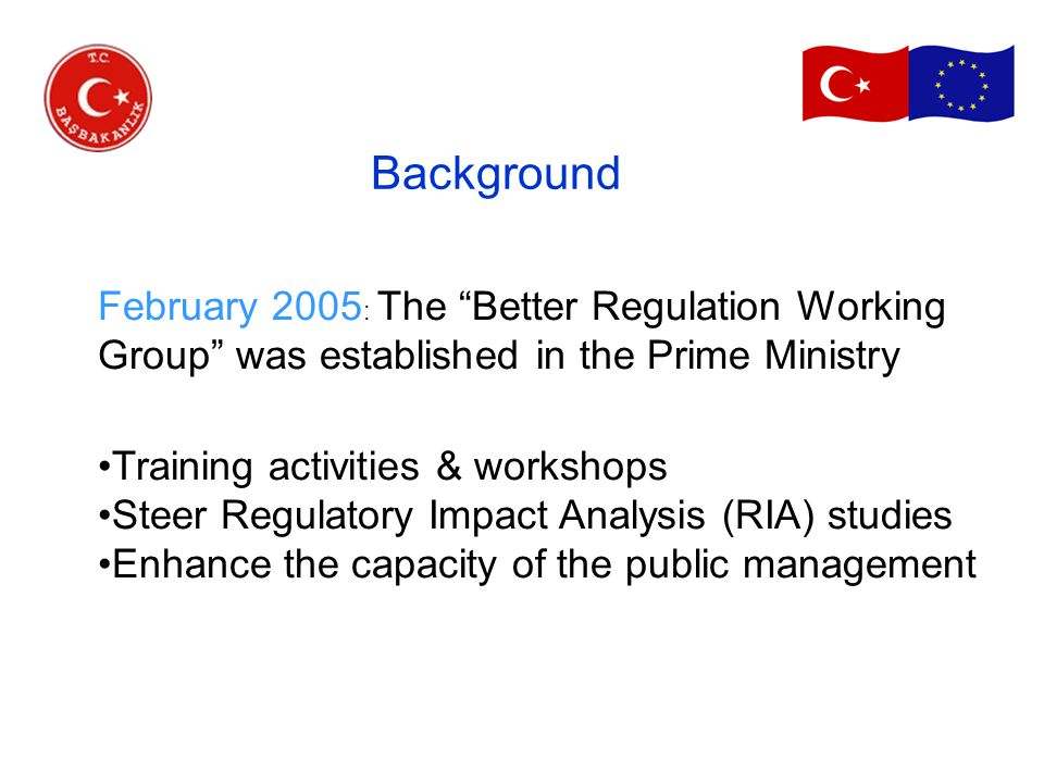 February 2005 : The Better Regulation Working Group was established in the Prime Ministry Training activities & workshops Steer Regulatory Impact Analysis (RIA) studies Enhance the capacity of the public management Background