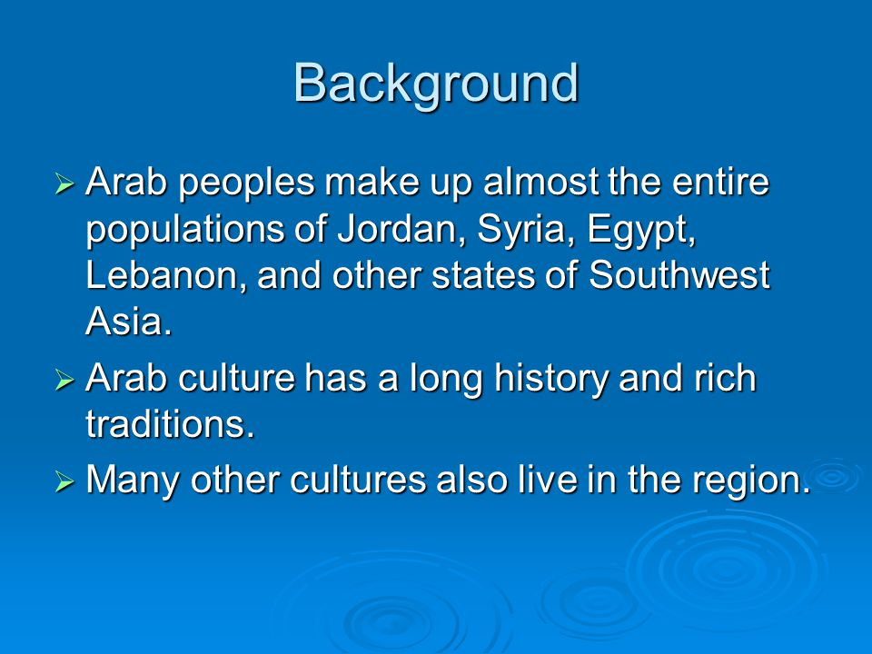 Background  Arab peoples make up almost the entire populations of Jordan, Syria, Egypt, Lebanon, and other states of Southwest Asia.