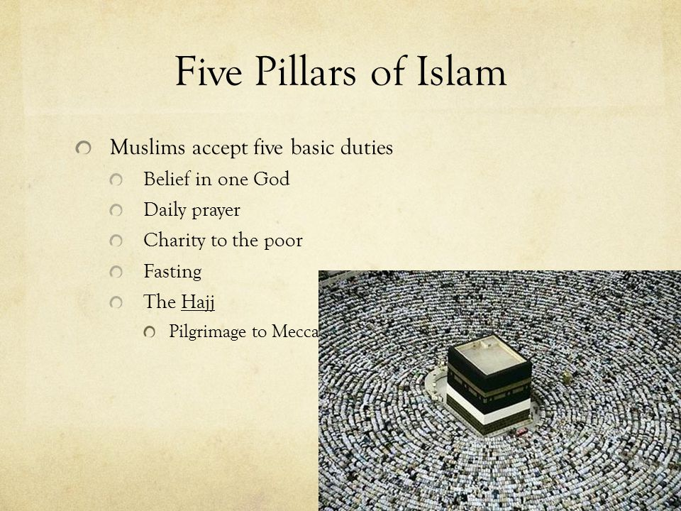 Five Pillars of Islam Muslims accept five basic duties Belief in one God Daily prayer Charity to the poor Fasting The Hajj Pilgrimage to Mecca