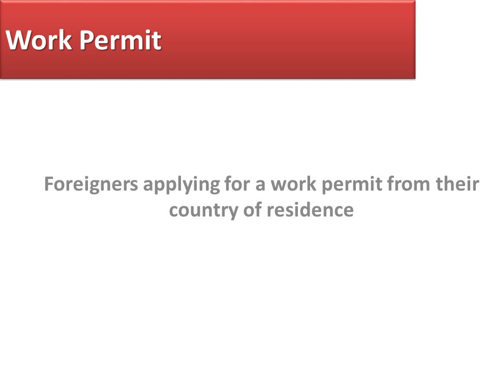 Work Permit Foreigners applying for a work permit from their country of residence