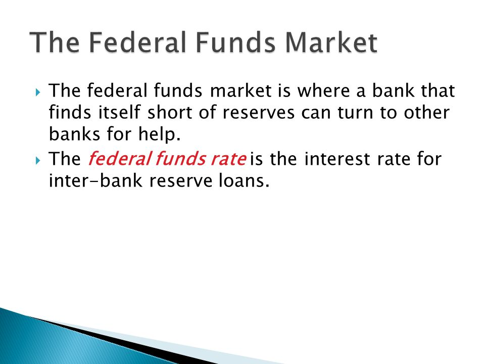  The federal funds market is where a bank that finds itself short of reserves can turn to other banks for help.
