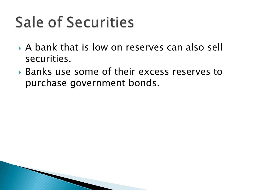  A bank that is low on reserves can also sell securities.