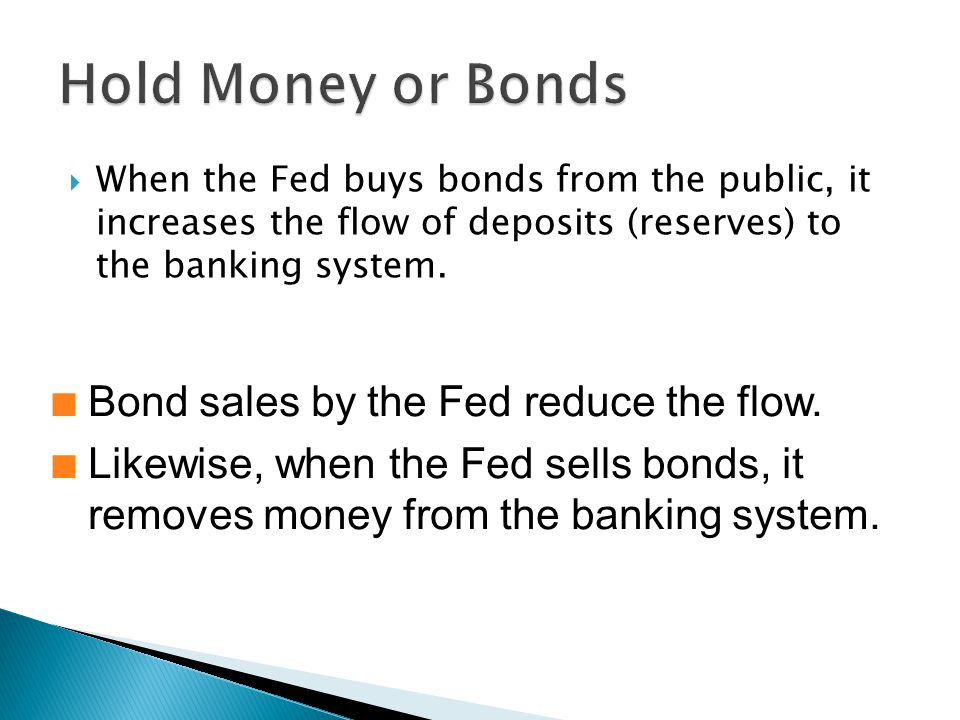  When the Fed buys bonds from the public, it increases the flow of deposits (reserves) to the banking system.