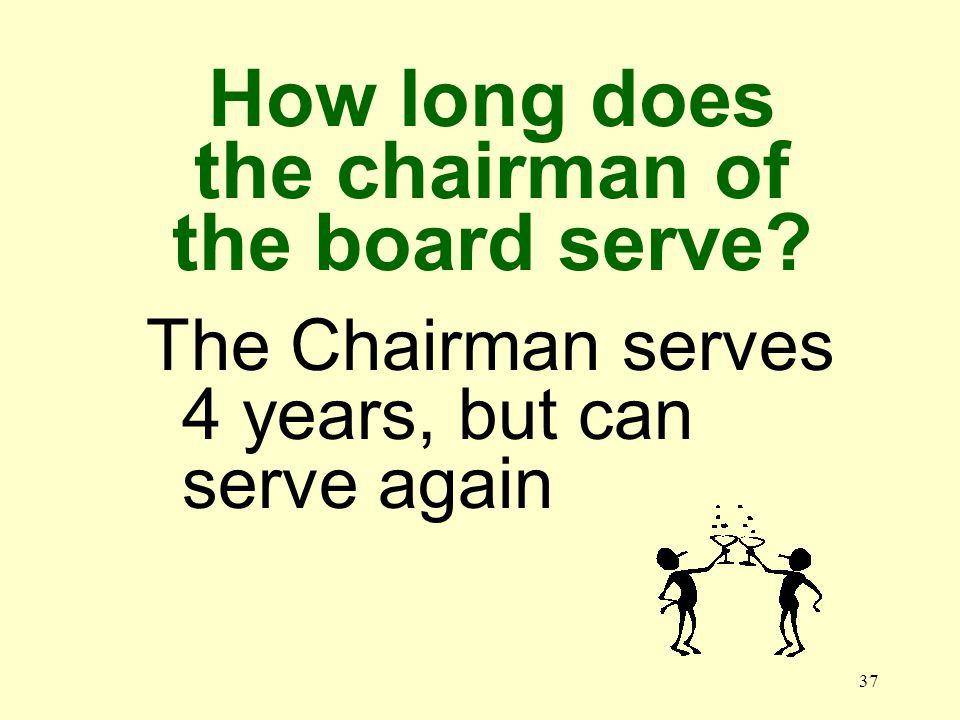 36 How long do most board members serve 14 years, after which they cannot serve again