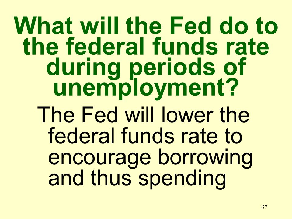 66 What will the Fed do to the federal funds rate during periods of inflation.