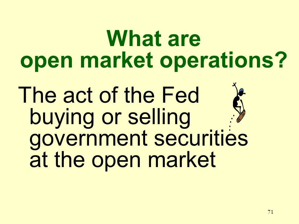 70 What is the open market A place where bonds are bought and sold