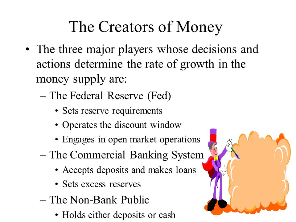 The Creators of Money The three major players whose decisions and actions determine the rate of growth in the money supply are: –The Federal Reserve (Fed) Sets reserve requirements Operates the discount window Engages in open market operations –The Commercial Banking System Accepts deposits and makes loans Sets excess reserves –The Non-Bank Public Holds either deposits or cash