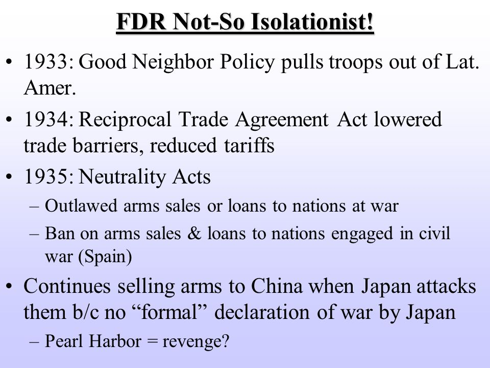 America Moves Toward War An Isolationist Or Neutral America No