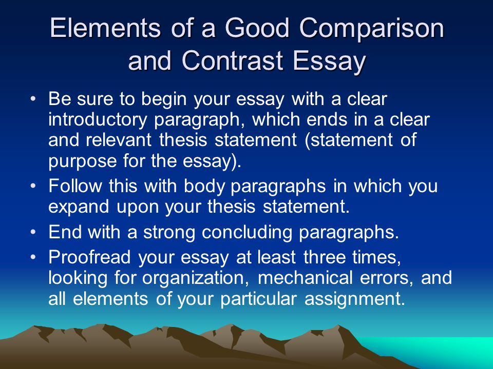 Compare And Contrast Essay Conclusion Examples
