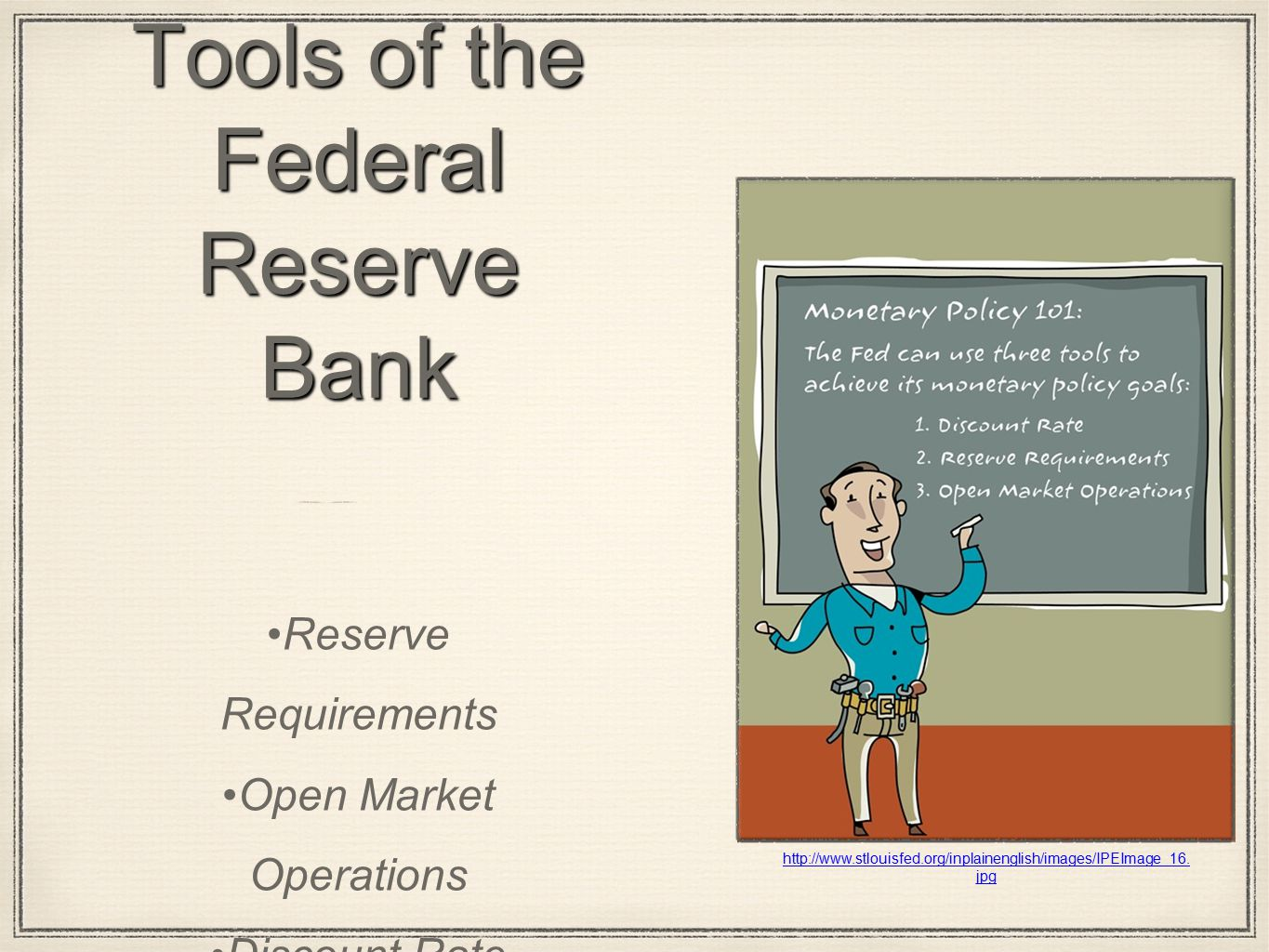 Tools of the Federal Reserve Bank Reserve Requirements Open Market Operations Discount Rate