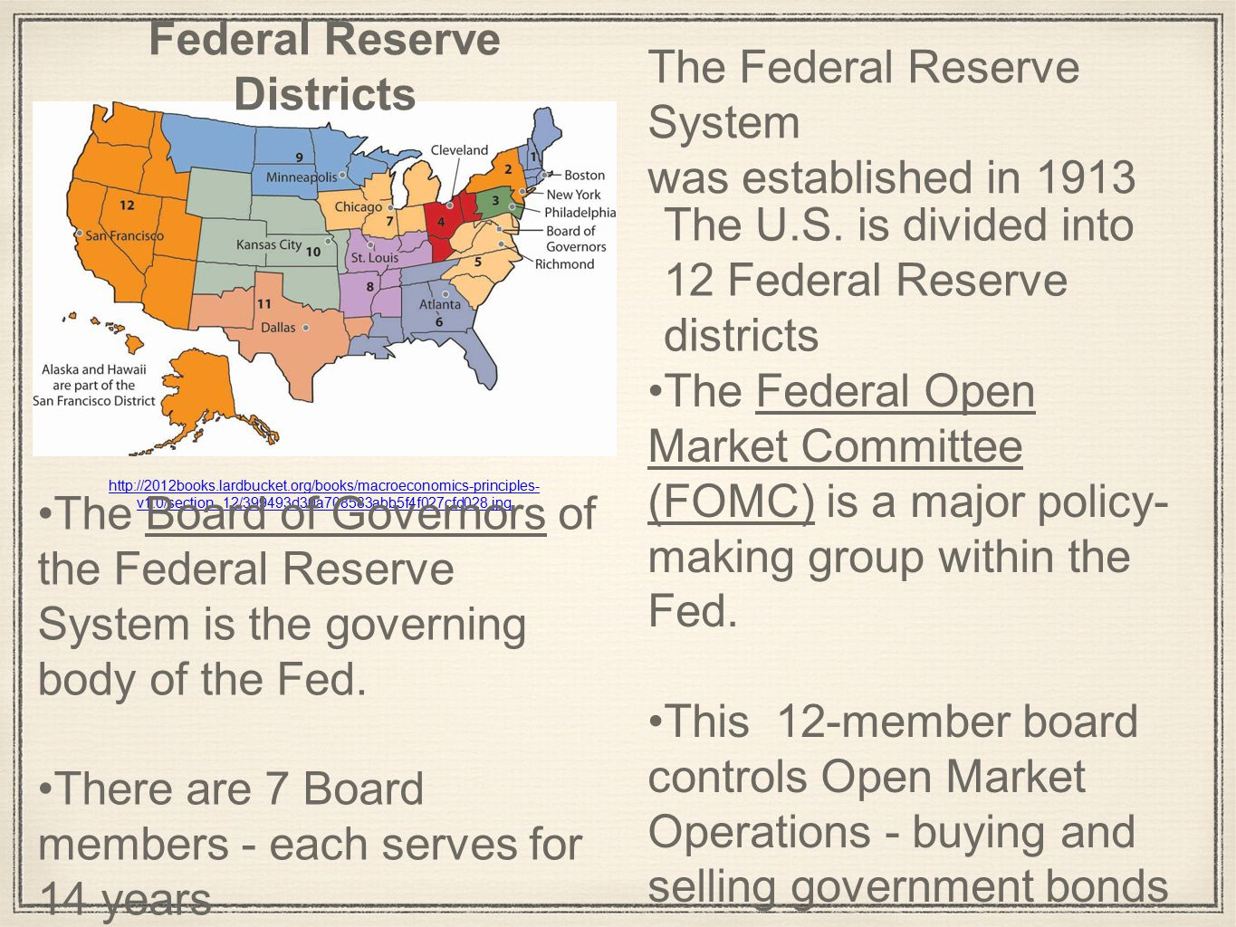 v1.0/section_12/399493d30a708583abb5f4f027cfd028.jpg Federal Reserve Districts The Federal Reserve System was established in 1913 The Board of Governors of the Federal Reserve System is the governing body of the Fed.