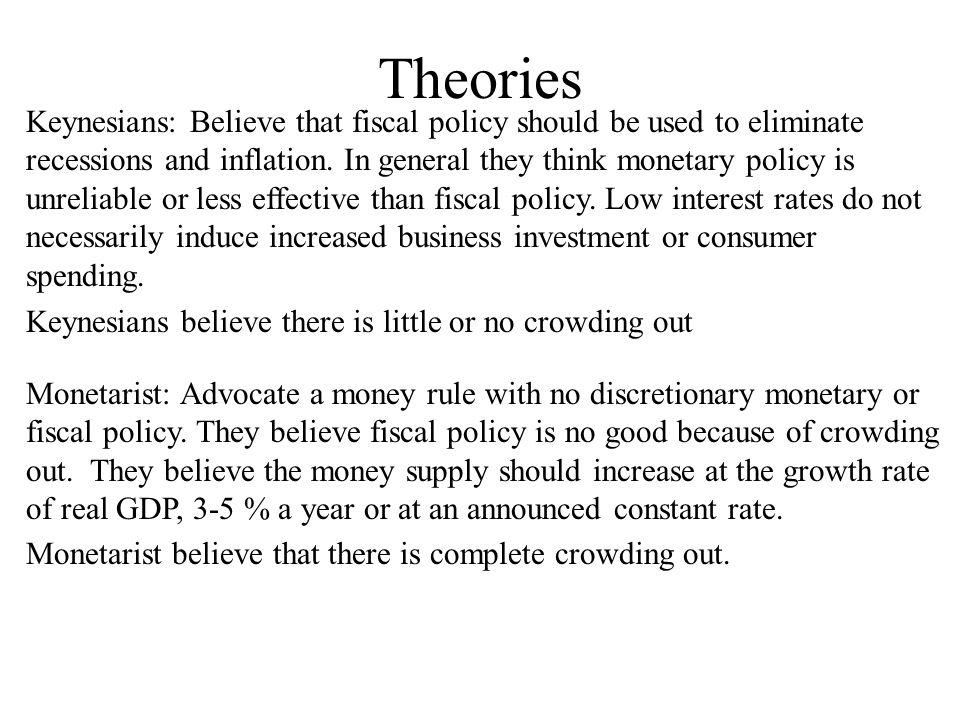 Theories Keynesians: Believe that fiscal policy should be used to eliminate recessions and inflation.
