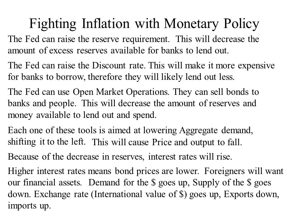 Fighting Inflation with Monetary Policy The Fed can raise the reserve requirement.