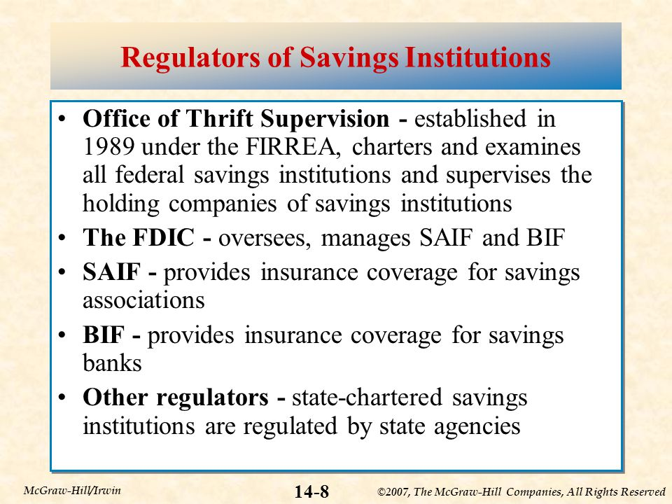 ©2007, The McGraw-Hill Companies, All Rights Reserved 14-8 McGraw-Hill/Irwin Regulators of Savings Institutions Office of Thrift Supervision - established in 1989 under the FIRREA, charters and examines all federal savings institutions and supervises the holding companies of savings institutions The FDIC - oversees, manages SAIF and BIF SAIF - provides insurance coverage for savings associations BIF - provides insurance coverage for savings banks Other regulators - state-chartered savings institutions are regulated by state agencies Office of Thrift Supervision - established in 1989 under the FIRREA, charters and examines all federal savings institutions and supervises the holding companies of savings institutions The FDIC - oversees, manages SAIF and BIF SAIF - provides insurance coverage for savings associations BIF - provides insurance coverage for savings banks Other regulators - state-chartered savings institutions are regulated by state agencies
