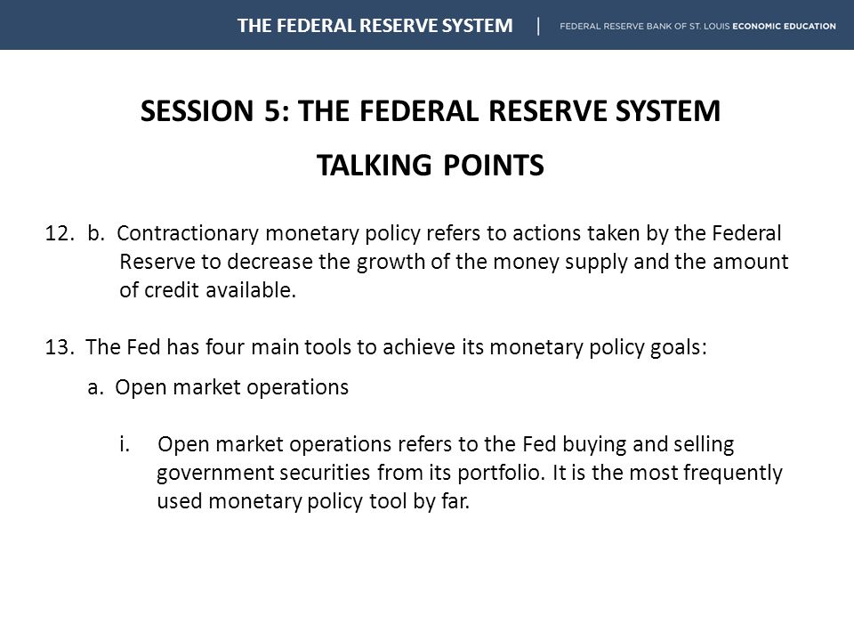 SESSION 5: THE FEDERAL RESERVE SYSTEM TALKING POINTS THE FEDERAL RESERVE SYSTEM 12.b.