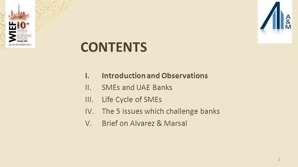 2 CONTENTS I.Introduction and Observations II.SMEs and UAE Banks III.Life Cycle of SMEs IV.The 5 issues which challenge banks V.Brief on Alvarez & Marsal