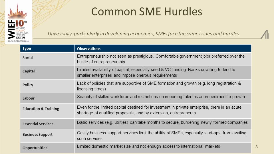 Common SME Hurdles Universally, particularly in developing economies, SMEs face the same issues and hurdles 8 Type Observations Social Entrepreneurship not seen as prestigious.