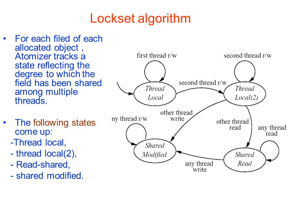 Lockset algorithm For each filed of each allocated object, Atomizer tracks a state reflecting the degree to which the field has been shared among multiple threads.