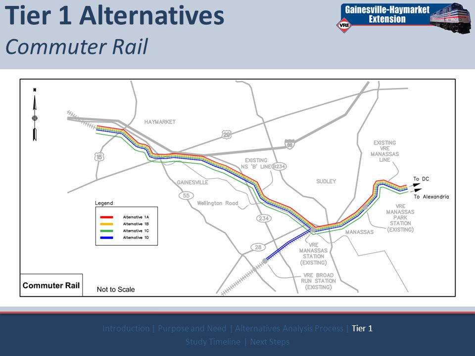  Commuter Rail  Light Rail  Heavy Rail  People Mover  Commuter Bus  Bus Rapid Transit Tier 1 Alternatives Commuter Rail Introduction | Purpose and Need | Alternatives Analysis Process | Tier 1 Study Timeline | Next Steps