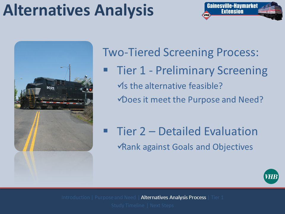 Alternatives Analysis Two-Tiered Screening Process:  Tier 1 - Preliminary Screening Is the alternative feasible.