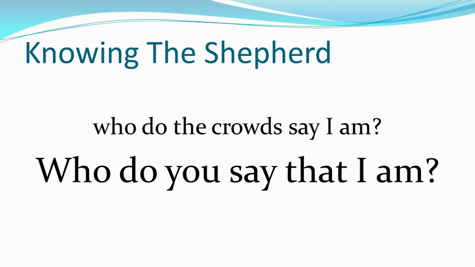 Knowing The Shepherd who do the crowds say I am Who do you say that I am