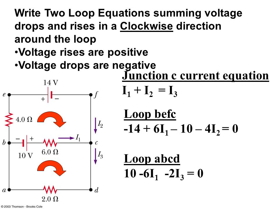 Write Two Loop Equations summing voltage drops and rises in a Clockwise direction around the loop Voltage rises are positive Voltage drops are negative Loop befc I 1 – 10 – 4I 2 = 0 Loop abcd 10 -6I 1 -2I 3 = 0 Junction c current equation I 1 + I 2 = I 3