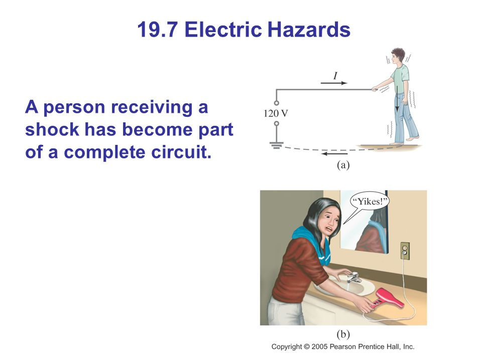 19.7 Electric Hazards A person receiving a shock has become part of a complete circuit.