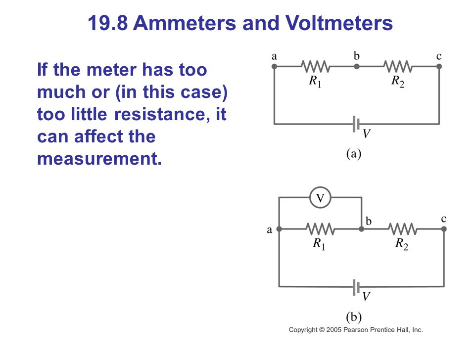 19.8 Ammeters and Voltmeters If the meter has too much or (in this case) too little resistance, it can affect the measurement.