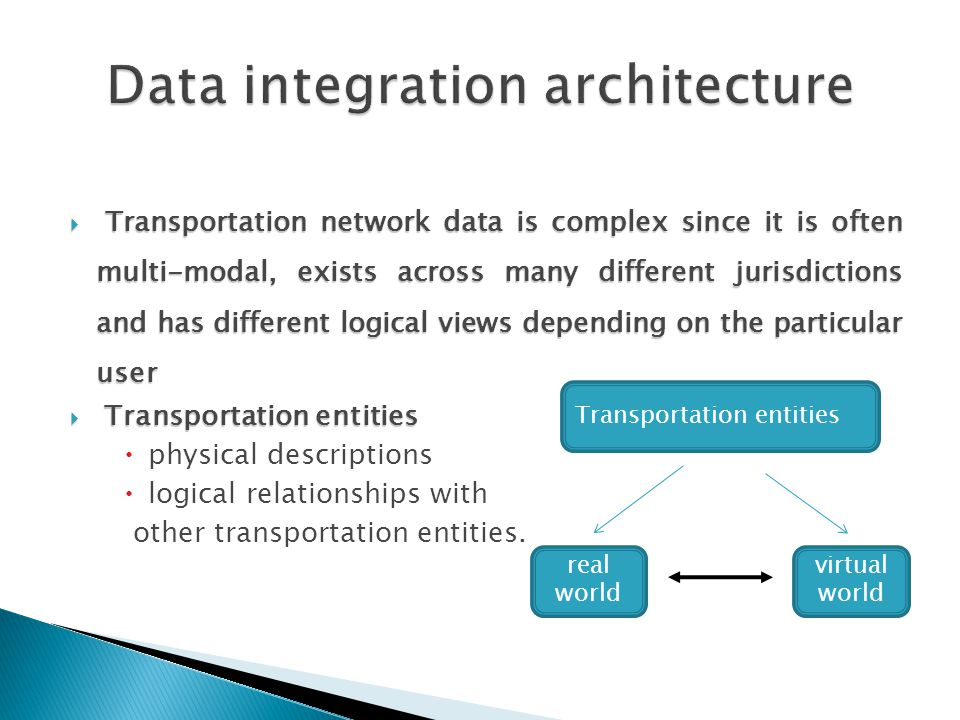  Transportation network data is complex since it is often multi-modal, exists across many different jurisdictions and has different logical views depending on the particular user  Transportation entities  physical descriptions  logical relationships with other transportation entities.