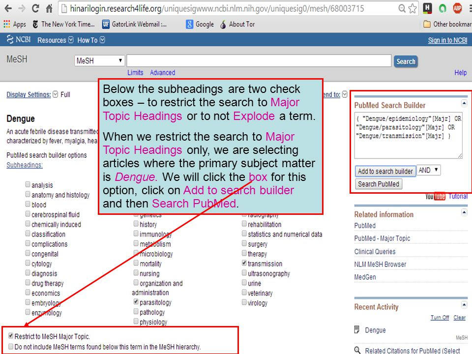 Below the subheadings are two check boxes – to restrict the search to Major Topic Headings or to not Explode a term.
