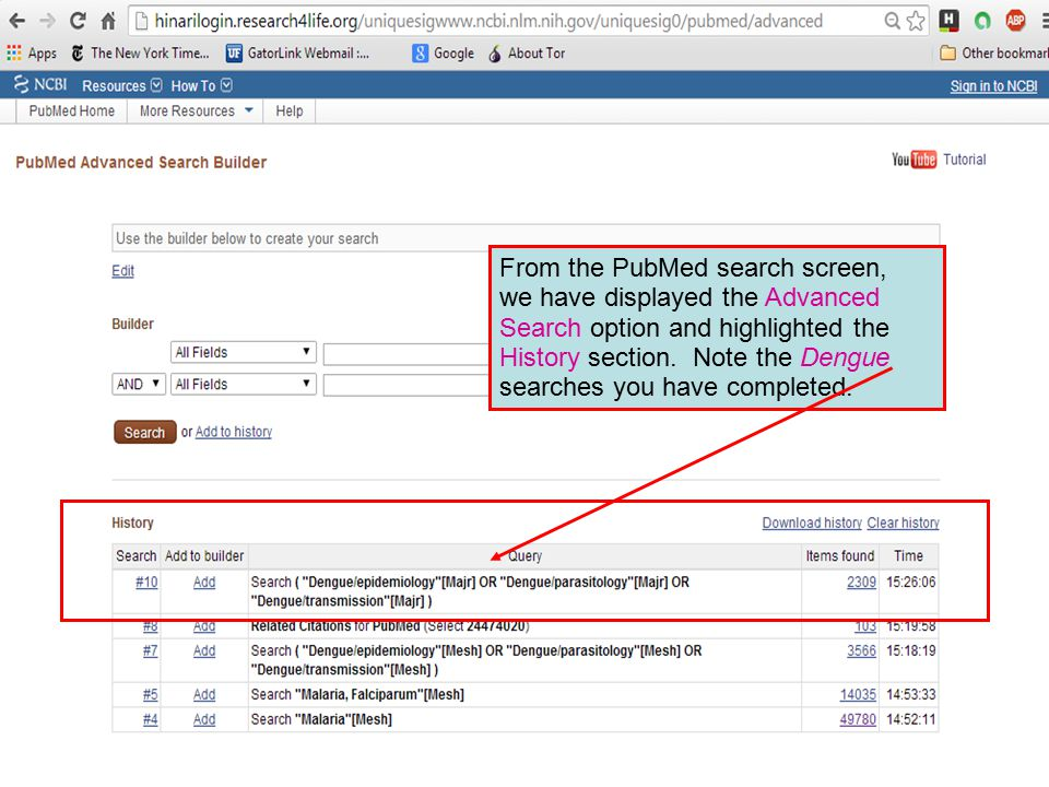 From the PubMed search screen, we have displayed the Advanced Search option and highlighted the History section.