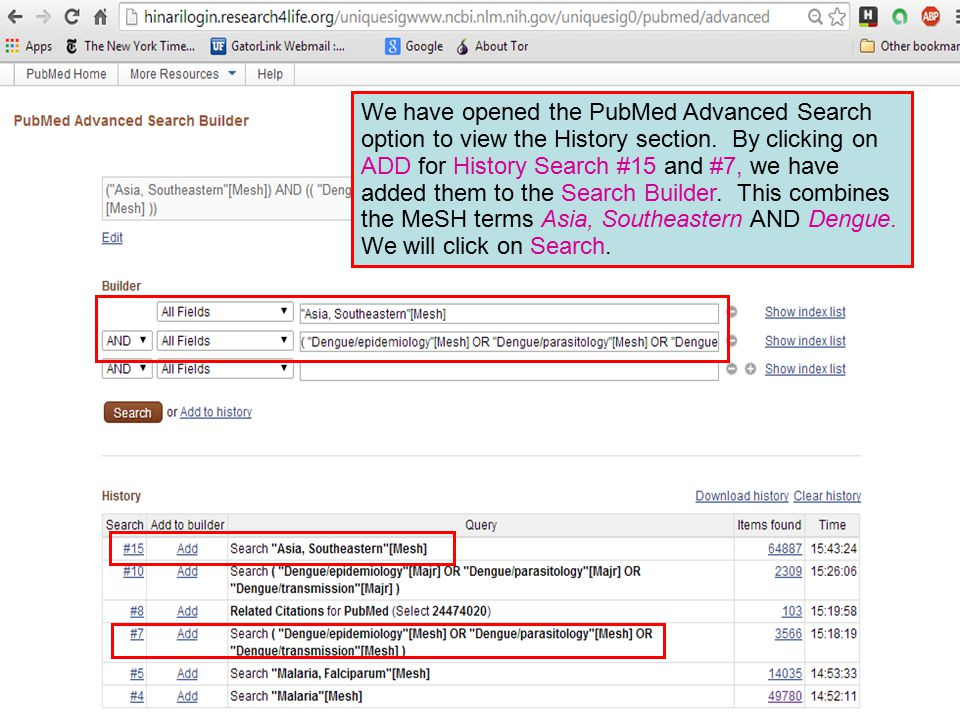 We have opened the PubMed Advanced Search option to view the History section.