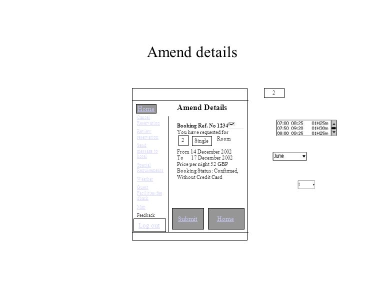 Amend details SubmitHome Amend Details Booking Ref.