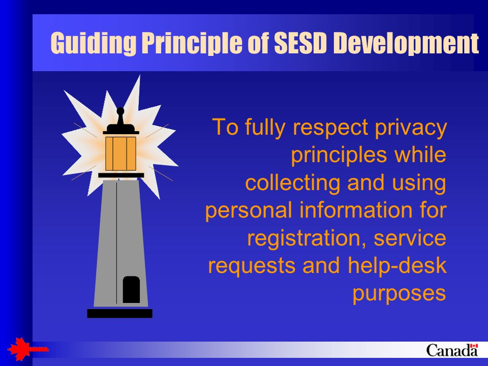 Guiding Principle of SESD Development To fully respect privacy principles while collecting and using personal information for registration, service requests and help-desk purposes
