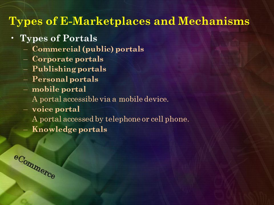 Types of E-Marketplaces and Mechanisms Types of Portals – Commercial (public) portals – Corporate portals – Publishing portals – Personal portals – mo