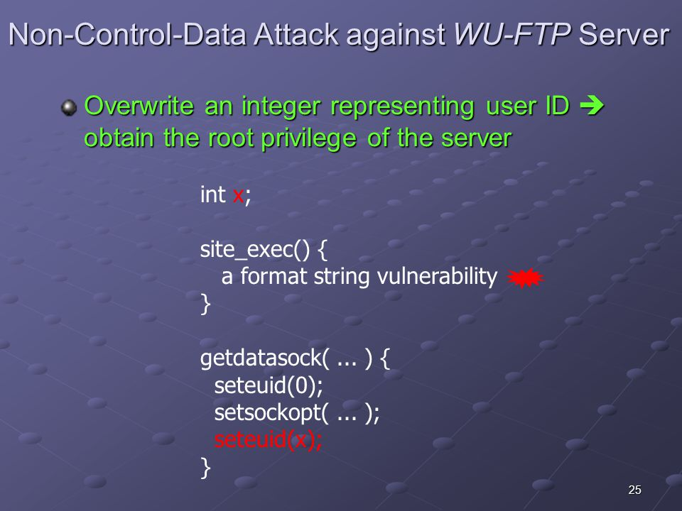 25 Non-Control-Data Attack against WU-FTP Server int x; site_exec() { a format string vulnerability } getdatasock(...