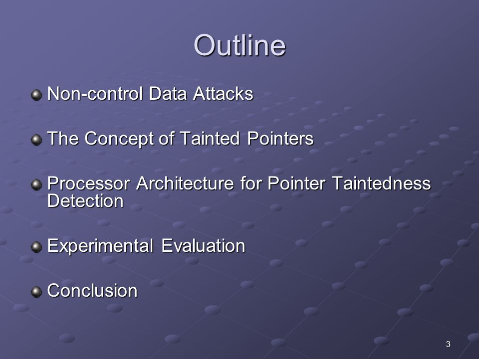 3 Outline Non-control Data Attacks The Concept of Tainted Pointers Processor Architecture for Pointer Taintedness Detection Experimental Evaluation Conclusion