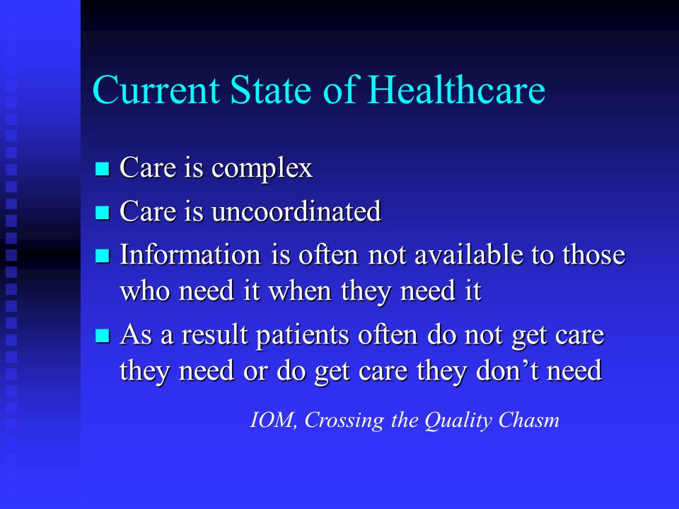 Current State of Healthcare Care is complex Care is complex Care is uncoordinated Care is uncoordinated Information is often not available to those who need it when they need it Information is often not available to those who need it when they need it As a result patients often do not get care they need or do get care they don't need As a result patients often do not get care they need or do get care they don't need IOM, Crossing the Quality Chasm