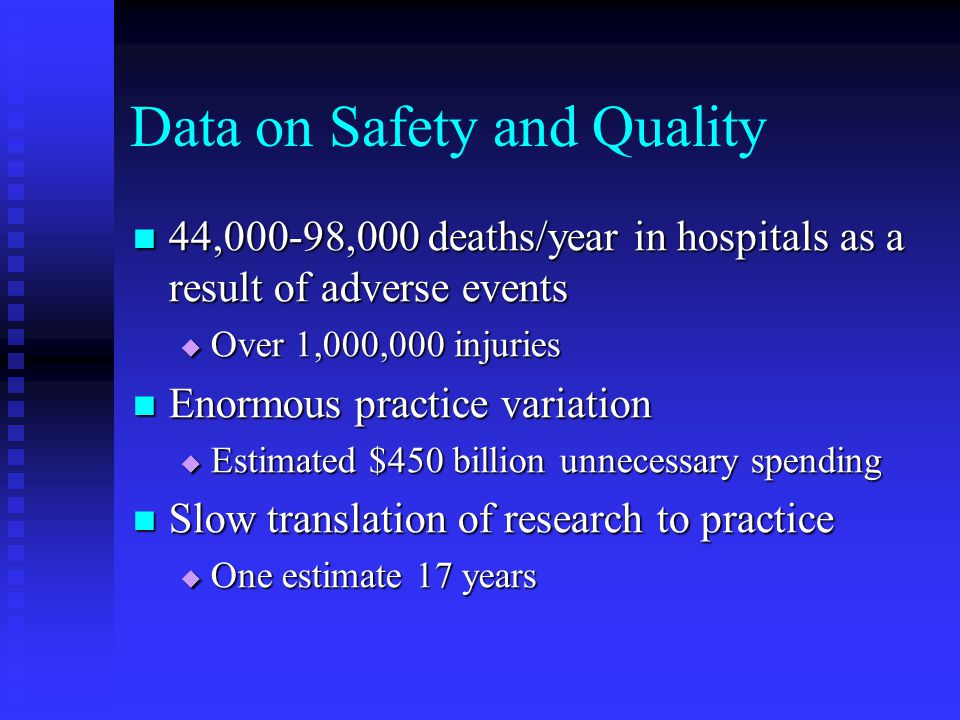 Data on Safety and Quality 44,000-98,000 deaths/year in hospitals as a result of adverse events 44,000-98,000 deaths/year in hospitals as a result of adverse events  Over 1,000,000 injuries Enormous practice variation Enormous practice variation  Estimated $450 billion unnecessary spending Slow translation of research to practice Slow translation of research to practice  One estimate 17 years