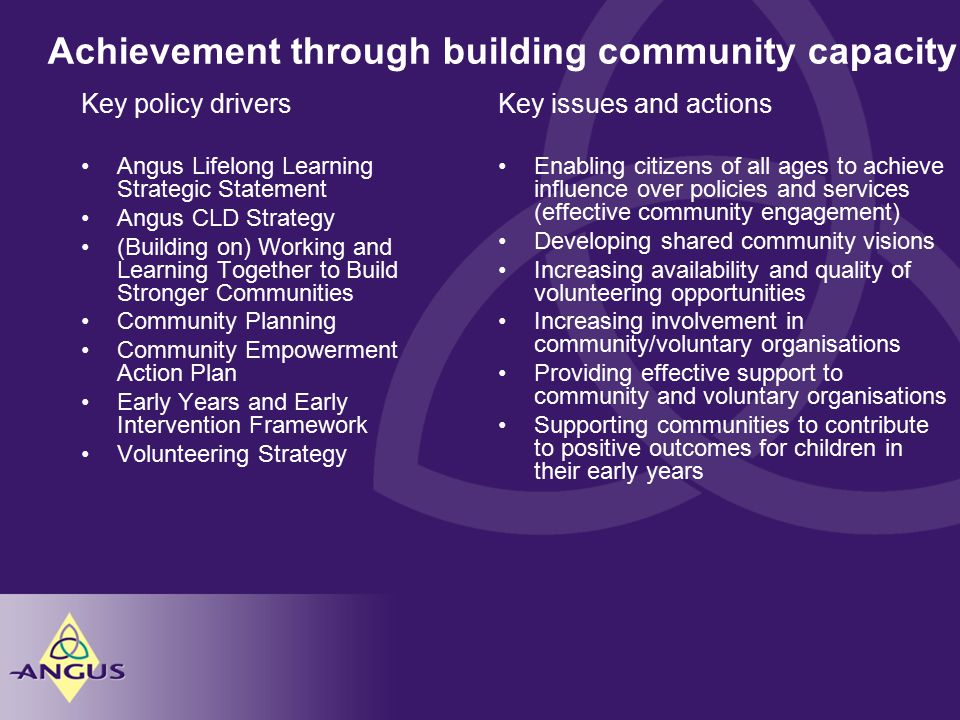 Achievement through building community capacity Key issues and actions Enabling citizens of all ages to achieve influence over policies and services (effective community engagement) Developing shared community visions Increasing availability and quality of volunteering opportunities Increasing involvement in community/voluntary organisations Providing effective support to community and voluntary organisations Supporting communities to contribute to positive outcomes for children in their early years Key policy drivers Angus Lifelong Learning Strategic Statement Angus CLD Strategy (Building on) Working and Learning Together to Build Stronger Communities Community Planning Community Empowerment Action Plan Early Years and Early Intervention Framework Volunteering Strategy