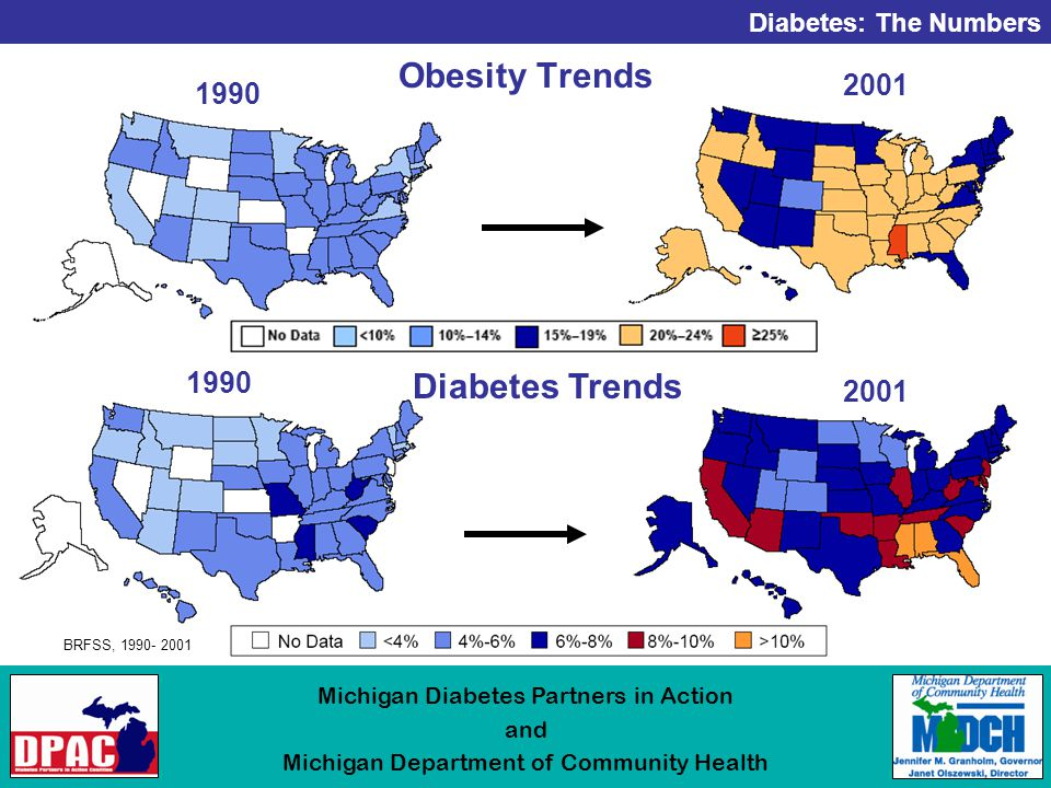Diabetes: The Numbers Michigan Diabetes Partners in Action and Michigan Department of Community Health Obesity Trends Diabetes Trends BRFSS,