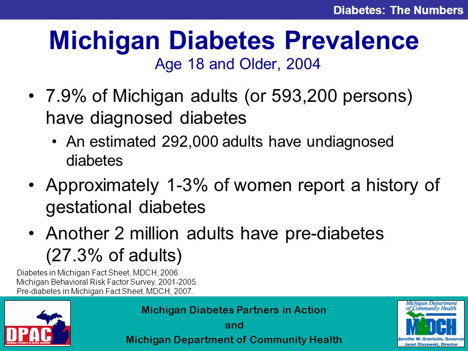 Diabetes: The Numbers Michigan Diabetes Partners in Action and Michigan Department of Community Health Michigan Diabetes Prevalence Age 18 and Older, % of Michigan adults (or 593,200 persons) have diagnosed diabetes An estimated 292,000 adults have undiagnosed diabetes Approximately 1-3% of women report a history of gestational diabetes Another 2 million adults have pre-diabetes (27.3% of adults) Diabetes in Michigan Fact Sheet, MDCH, 2006.