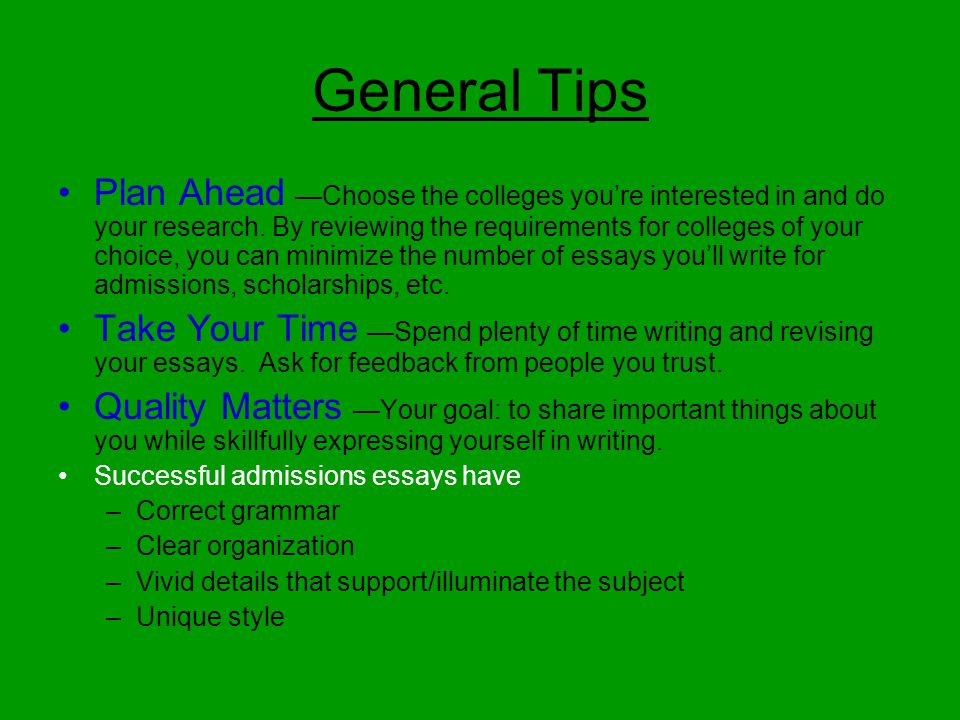 Writing essay for college admission unit