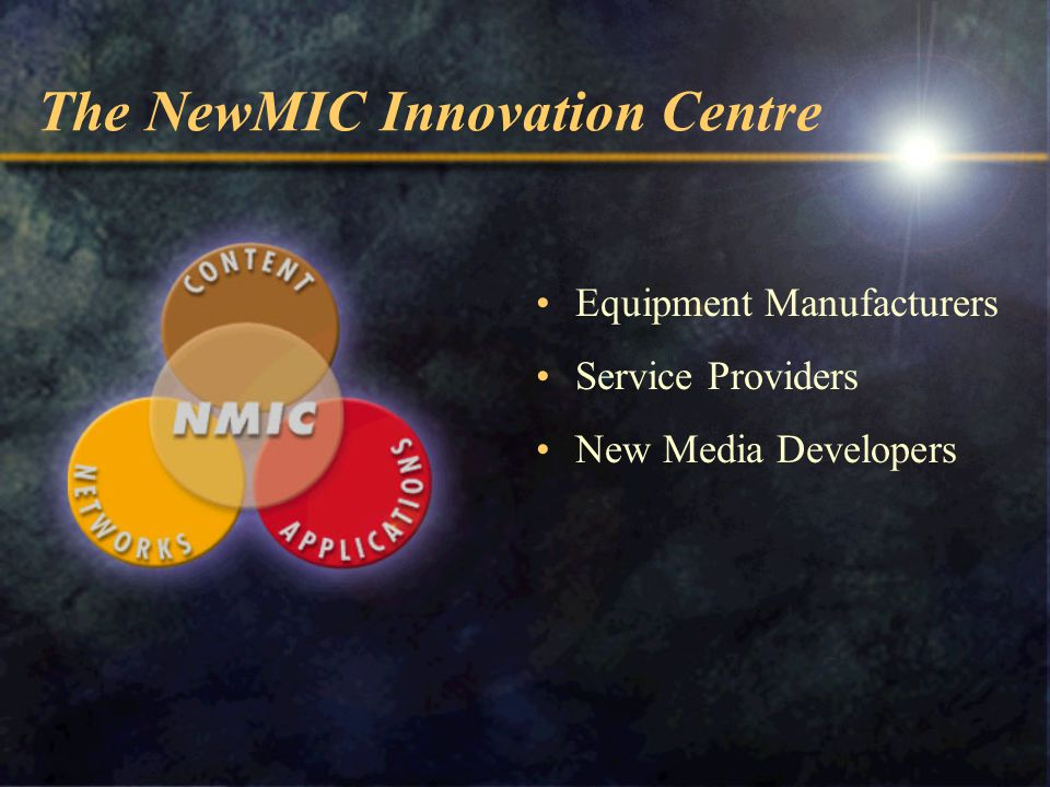 The NewMIC Innovation Centre Equipment Manufacturers Service Providers New Media Developers